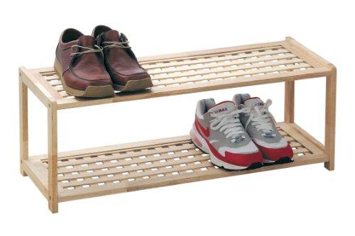 Premier Housewares 30 x 79 x 26 cm 2 Tier Rubberwood Shoe Rack, Criss Cross Design