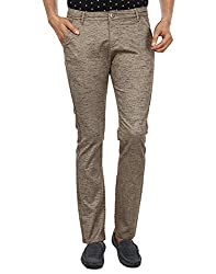 FEVER Men Self Design Trousers, Beige