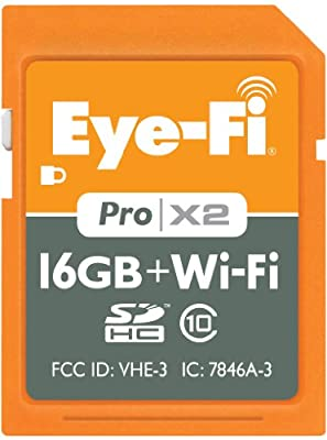 Eye-Fi 16GB Pro X2 SDHC Class 10 Wireless Flash Memory Card, EYE-FI-16PCX
