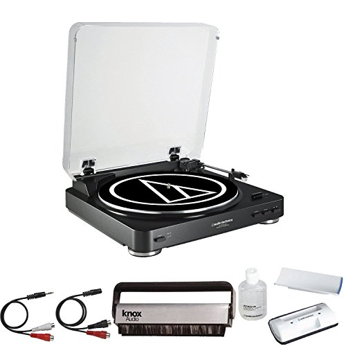 Audio-Technica-AT-LP60BK-USB-Turntable-Black-w-Knox-Carbon-Fiber-Vinyl-Brush-Cleaner-AT6012-Cleaning-Kit