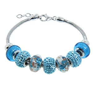 """Italian Sterling Silver Bracelet with Turquoise Blue Murano Glass and Crystal Beads, 7.5"""" +1"""" Extender"""