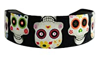 Bargain Headbands, Super Cute Day of the Dead White Skulls and Flowers Over Black