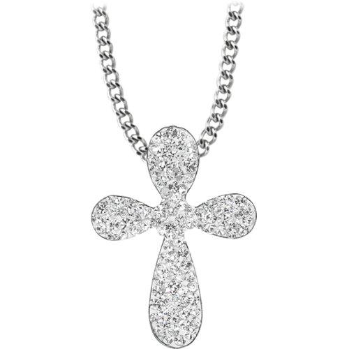 Inox Jewelry Women's 316L Stainless Steel CZ Cross Pendant