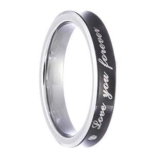 Black Tungsten Carbide Concave Band 1.5mm Natural Round Diamond 0.015 Carat SI1-SI2 Wedding Ring