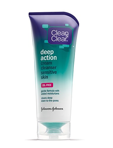 Clean & Clear Oil-Free Deep Action Cream Cleaner For Sensitive Skin, 6.5 Ounce (Pack Of 4) front-55992