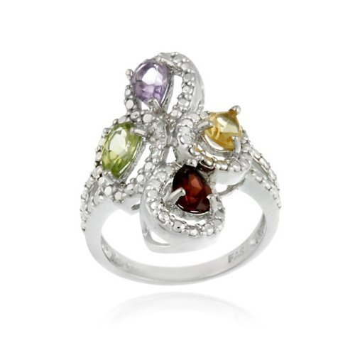 Sterling Silver Multi Gemstone Diamond Accent Cocktail Rings