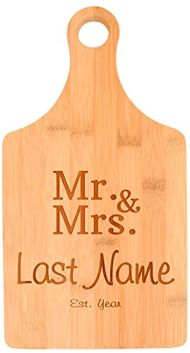 Customized Last Name Year Mr and Mrs Wedding Gift Personalized Paddle Shaped Bamboo Cutting Board