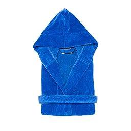 Kid\'s Terry Velour Hooded Robe 100% Pure Cotton Boys Girls Bathrobe(RBlue,S/M)