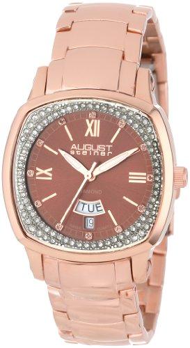 August Steiner Mujer AS8016RG Day Date Diamond Swiss Quartz Bracelet Reloj