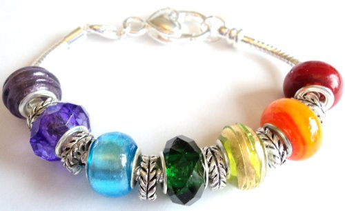 Rainbow Pandora/Troll Style Charm Bracelet - Ideal Birthday/Valentine/Mother's Day Gift - 13 beads and spacers on a 20cm silver plated lobster clasp bracelet
