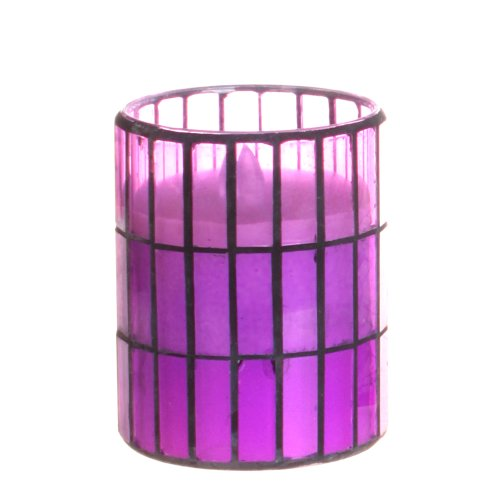 Dfl 3*4 Inch Purple Tiled Pattern Mosaic Glass With Flameless Led Candle With Timer,Work With 2 Aa Battery