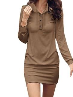 Allegra K Point Collar Button Upper Long Sleeve Mini Dress for Women