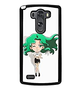 Vizagbeats Animated Winking Girl in Green Back Case Cover for LG G3