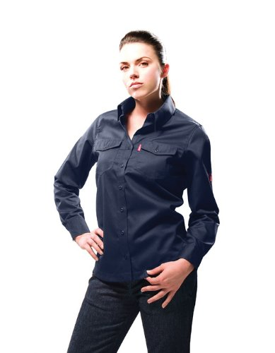 Benchmark Women'S Flame Resistant Light Weight Button Front Shirt Hrc 1 back-219885