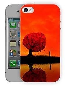 "Dusk Tree Sunset Printed Designer Mobile Back Cover For ""Apple Iphone 4-4S"" (3D, Matte, Premium Quality Snap On Case)"