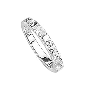 Elements Sterling Silver R2040C 52 Ladies' Cubic Zirconia Baguette and Round Stone Ring - Size L