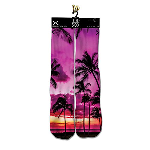 ODD SOX Sublimation Paradise Beach Palm Trees Fits Sizes 6-13 Crew Socks NEW