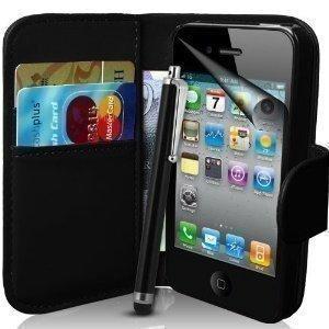 Verbindung Zone® iPod Touch 4 4. Generation KUNSTSTOFF Premium Flip Brieftasche Schutzhülle Beutel + Displayschutzfolie Mit Polier- Stoff Und Hoch Nadel - Schwarze Geldbörse Flip
