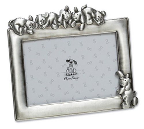 Just Pets Personalised Engraved Dog Pewter Pet Photo Frame, 6