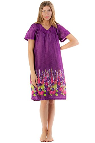 Casual Nights Women's Short Sleeve Satin Nightgown Vintage Floral - Purple - 1X