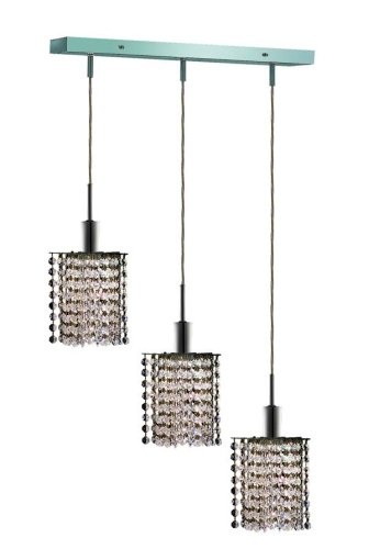 Elegant Lighting 1283D-O-P-Cl/Rc Mini 8-Inch High 3-Light Chandelier, Chrome Finish With Crystal (Clear) Royal Cut Rc Crystal front-626706