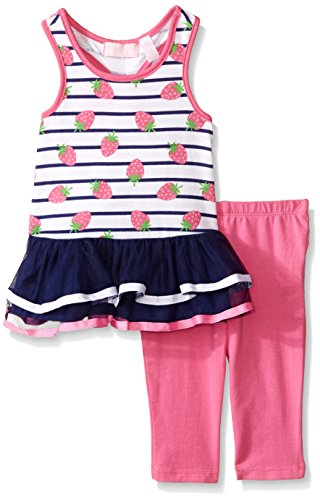 Kids Headquarters Baby Printed Jersey Tulle Tunic and Capri, Pink, 18 Months
