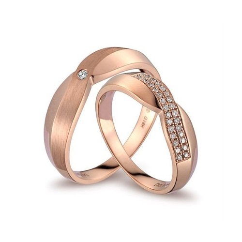 FineTresor Luxurious Diamond Couples Wedding Ring Bands on 18k Rose Gold