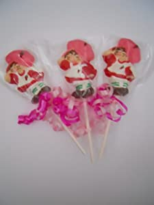 12 Strawberry Shortcake Chocolate Lollipops Birthday Gifts Party Favor Kids Sucker Pops Favors 1 Dozen