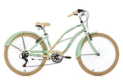 "Beach Cruiser 26"" Kahuna Mint-Beige 6 Gear KS Cycling"
