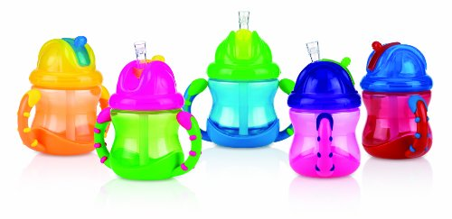 Nuby 2 Handle Flip N' Sip Straw Cup, Colors May Vary, 8 Ounce, 9+ Months