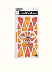 EK Sucess Vellum Stickers Red &amp; Orange Hearts