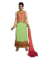 Pulp Mango Media's Exclusive High on Fashion Festive Wear, Pure Georgette heavily Embroidered, Palazzo pant style beautiful Pista Green Semi Stitched dress materials.