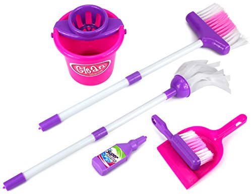Velocity Toys Little Helper 'E' Deluxe Children's Kid's Pretend Play Toy Cleaning Play Set w/ Broom, Mop, Bucket, Dust Pan, Brush, Mock Soap Bottle (Toddler Play Broom Set compare prices)