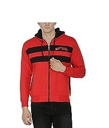 Avas Men's Cotton Sweatshirt (A_50_Red Black_X-Large)