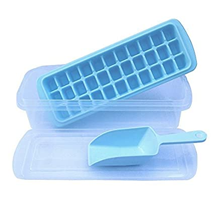 Ice-Cube-Trays-With-No-Spill-Cover,Ice-Scoop,Ice-Cube-Bin,Makes-33-Ice-Cubes