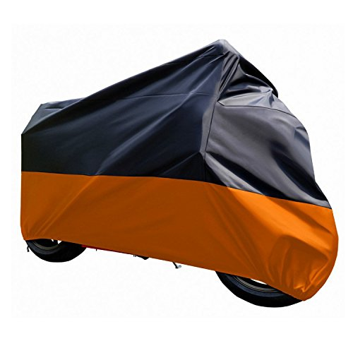Atpmtas Motorcycle cover waterproof accessories uv resist for harley yamaha suzuki kawasaki Black and Orange (XXL) (Motorcycle Suzuki Accessories compare prices)