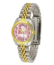 University of South Dakota Ladies Gold Dress Watch With Crystals