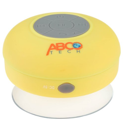 Abco Tech Water Resistant Wireless Bluetooth Shower Speaker With Suction Cup And Hands-Free Speakerphone, Yellow