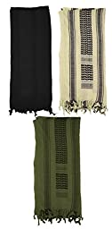 Mato & Hash Military Shemagh Tactical 100% Cotton Scarf Head Wrap - 3PK O.Drab/Blackout/T.Black CA2100