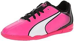 PUMA Adreno Indoor JR Soccer Shoe (Little Kid/Big Kid) , Knock Out Pink/White/Black, 12 M US Little Kid