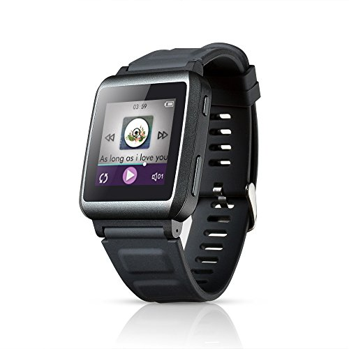 """AGPTek Smartwatch de Sport 16Go Montre Intelligente Bluetooth Lecteur Mp3 avec 1.5"""" Ecran Tactile, Gris foncé"""