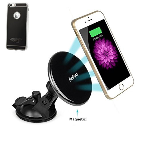 Antye Magnetic Vehicle Mounted Qi Wireless Car Charger Dashboard Cradle for iPhone 6 /6S, Includes TPU Qi Wireless Charging Receiver Case and Qi Car Charger Suction Cup Holder (Black)