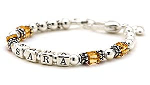 Childs Personalized Sterling Silver Birthday Bracelet - November Birth Month Crystal - Growth Chain, Charm (6 Inches)