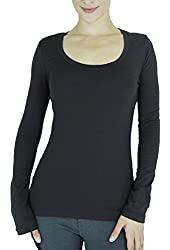 Cordiu Plain Round Scoop Neck Long Sleeve Stretch Solid Top T Shirt S M L 10286