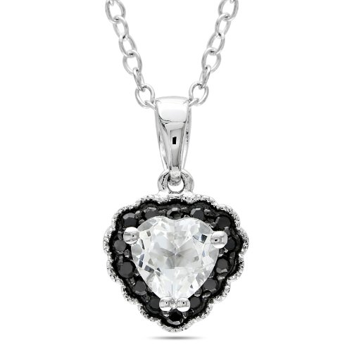 Sterling Silver 5/8 CT TGW White Topaz 0.07 CT TDW Black Diamond Heart Pendant