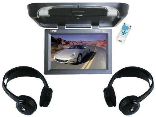"Pyle Super Audio & Video Package For Car/Truck/Suv -- Plrd175If 17"" Flip Down Monitor With Built In Dvd/Sd/Usb Player With Wireless Fm Modulator & Ir Transmitter + Pair Of Plvwh5 Wireless Ir Mobile Video Stereo Headphones"