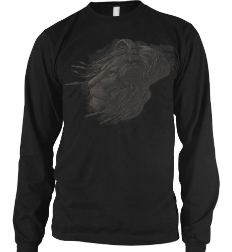 Plugged In, Lion With Headphones Mens Thermal Shirt, Licensed Liquid Blue Design Mens Long Sleeve Thermal Shirt, Large, Black
