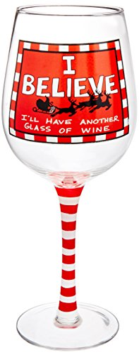 Enesco Our Name is Mud by Lorrie Veasey I Believe Wine Glass, 8.85-Inch (Decorate Wine Glasses compare prices)