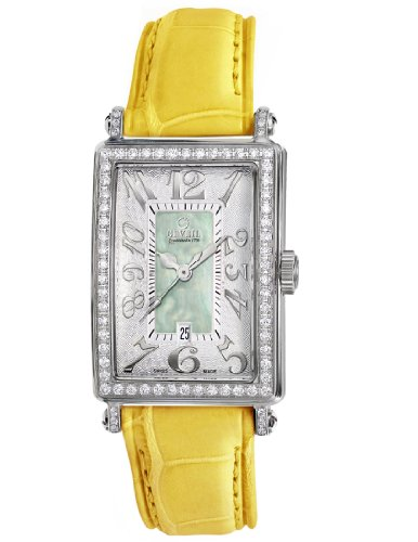 Gevril Women's 7246NV.2 Green Mother-of-Pearl Genuine Alligator Strap Watch