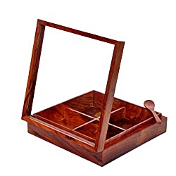 Hashcart Spice & Dry Fruits Box in Sheesham Wood with Wooden Spoon (8x8 inch)